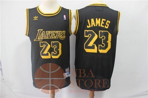 Classic Maillot NBA Los Angeles Lakers NO.23 Lebron James Retro Noir