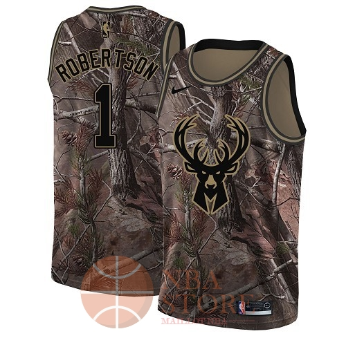 Classic Maillot NBA Milwaukee Bucks NO.1 Oscar Robertson Camo Swingman Collection Realtree 2018