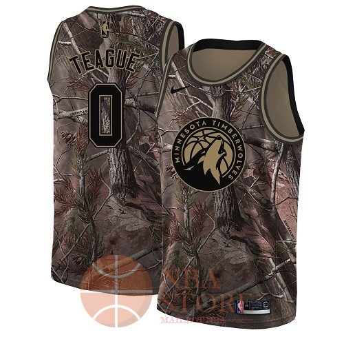 Classic Maillot NBA Minnesota Timberwolves NO.0 Jeff Teague Camo Swingman Collection Realtree 2018