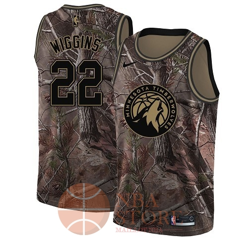Classic Maillot NBA Minnesota Timberwolves NO.22 Andrew Wiggins Camo Swingman Collection Realtree 2018
