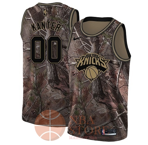 Classic Maillot NBA New York Knicks NO.0 Enes Kanter Camo Swingman Collection Realtree 2018