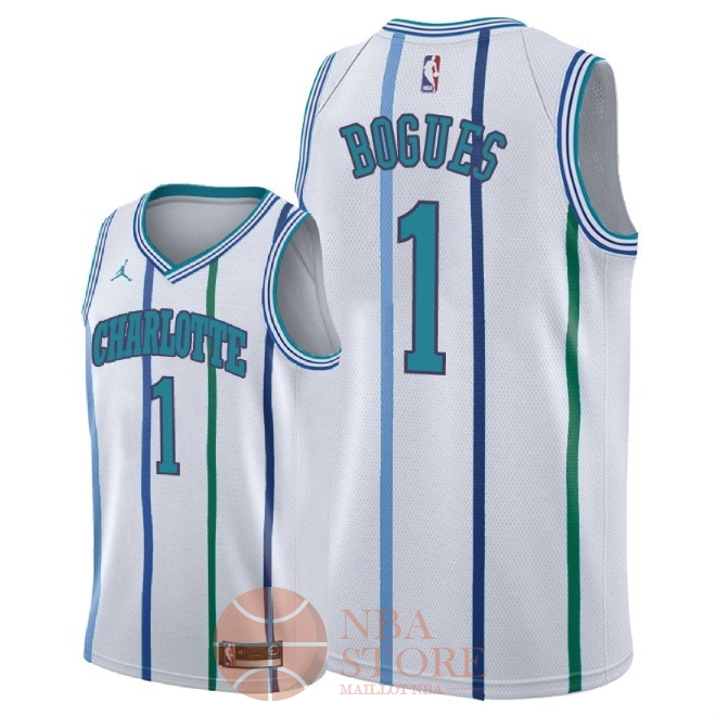 Classic Maillot NBA Nike Charlotte Hornets NO.1 Tyrone Bogues Retro Blanc 2018