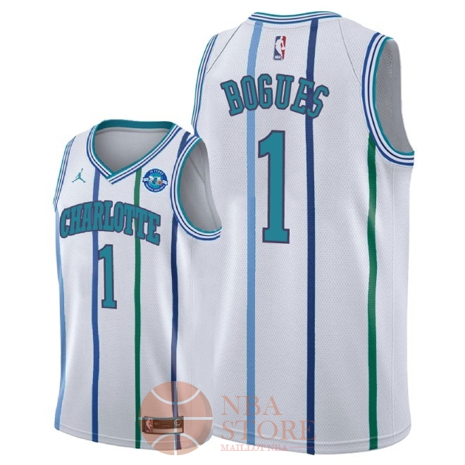 Classic Maillot NBA Nike Charlotte Hornets NO.1 Tyrone Bogues Retro Blanc 30 Anniversaire 2018-19