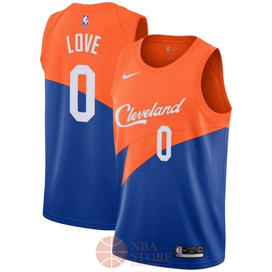 Classic Maillot NBA Nike Cleveland Cavaliers NO.0 Kevin Love Nike Bleu Ville 2018-19