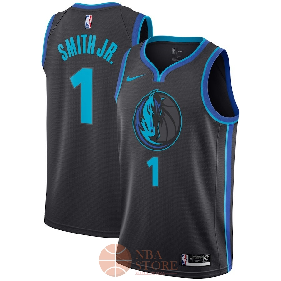 Classic Maillot NBA Nike Dallas Mavericks NO.1 Dennis Smith Jr Nike Anthracite Ville 2018-19