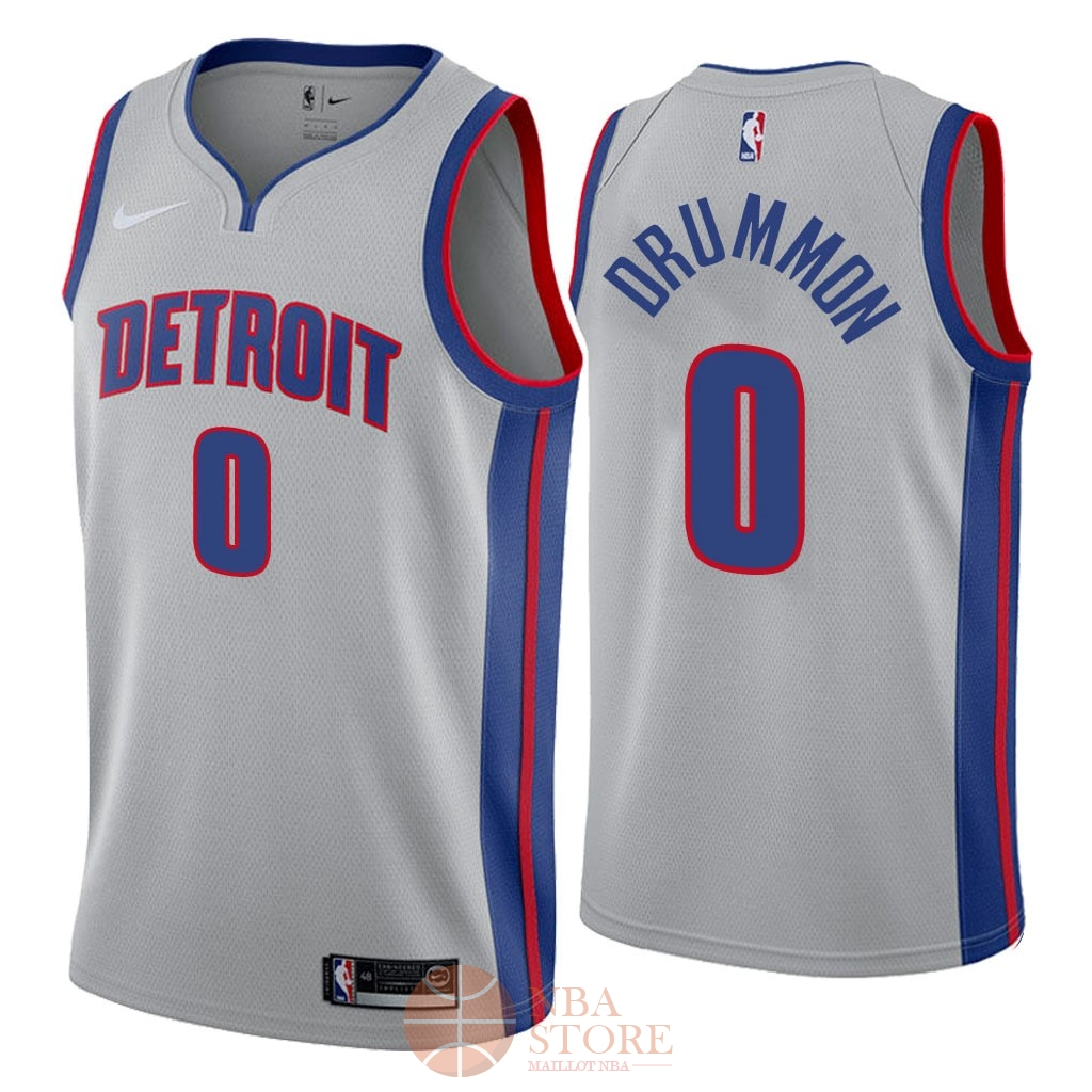 Classic Maillot NBA Nike Detroit Pistons NO.0 Andre Drummond Gris Statement 2018