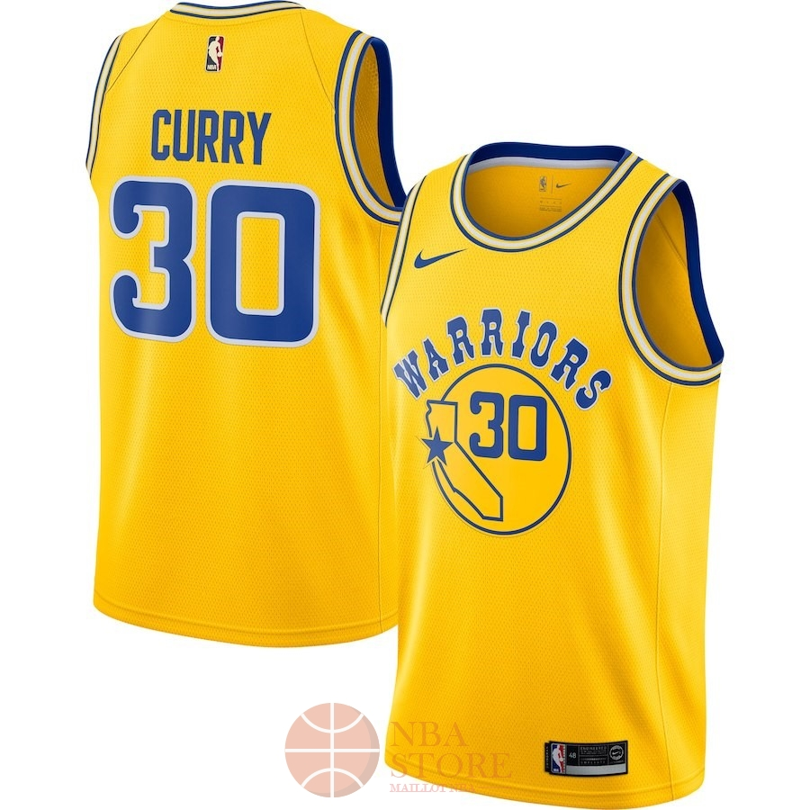 Classic Maillot NBA Nike Golden State Warriors NO.30 Stephen Curry Nike Retro Jaune 2018-19