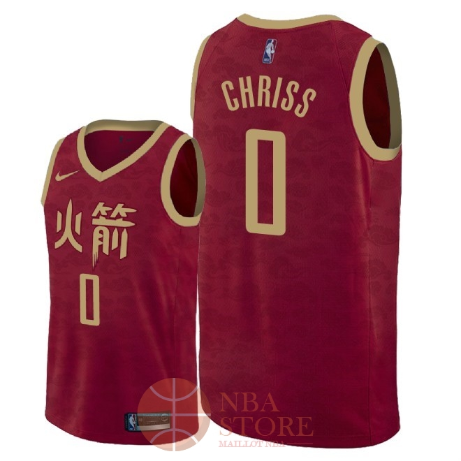 Classic Maillot NBA Nike Houston Rockets NO.0 Marquese Chriss Nike Rouge Ville 2018-19