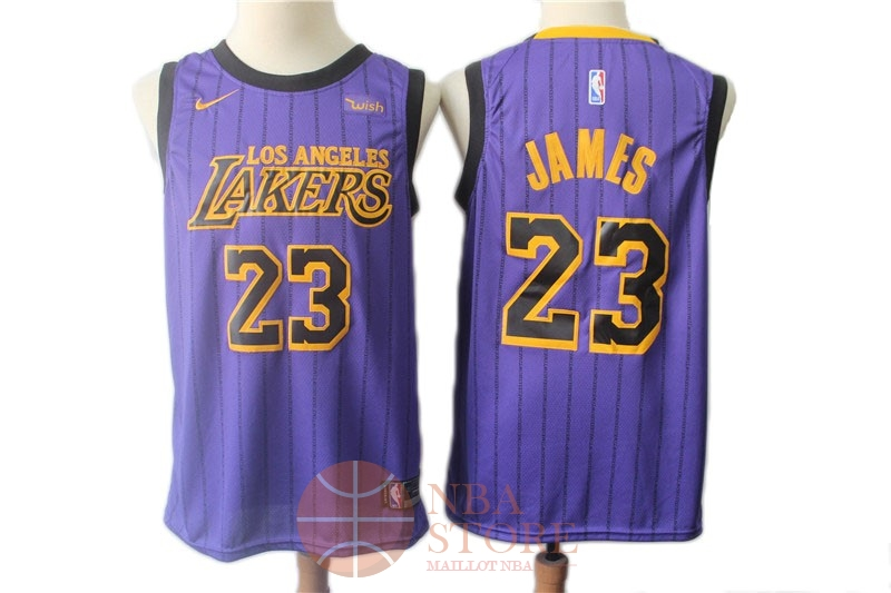 61f9f96fe4 Classic Maillot NBA Nike Los Angeles Lakers NO.23 Lebron James Pourpre  Ville 2018-