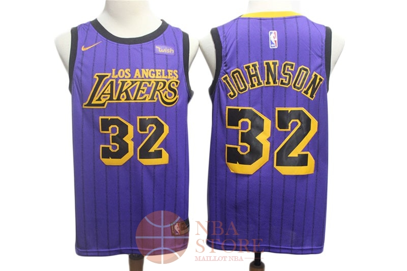 Classic Maillot NBA Nike Los Angeles Lakers NO.32 Magic Johnson Pourpre Ville 2018-19