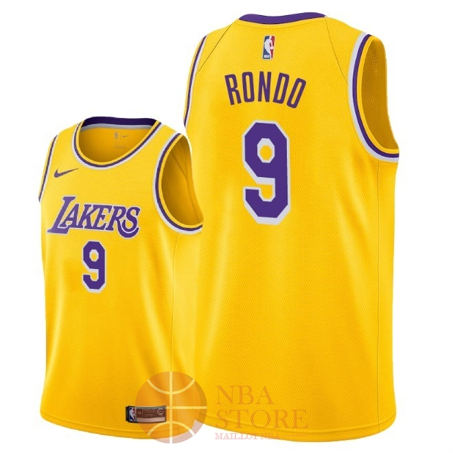 Classic Maillot NBA Nike Los Angeles Lakers NO.9 Rajon Rondo Jaune Icon 2018-19
