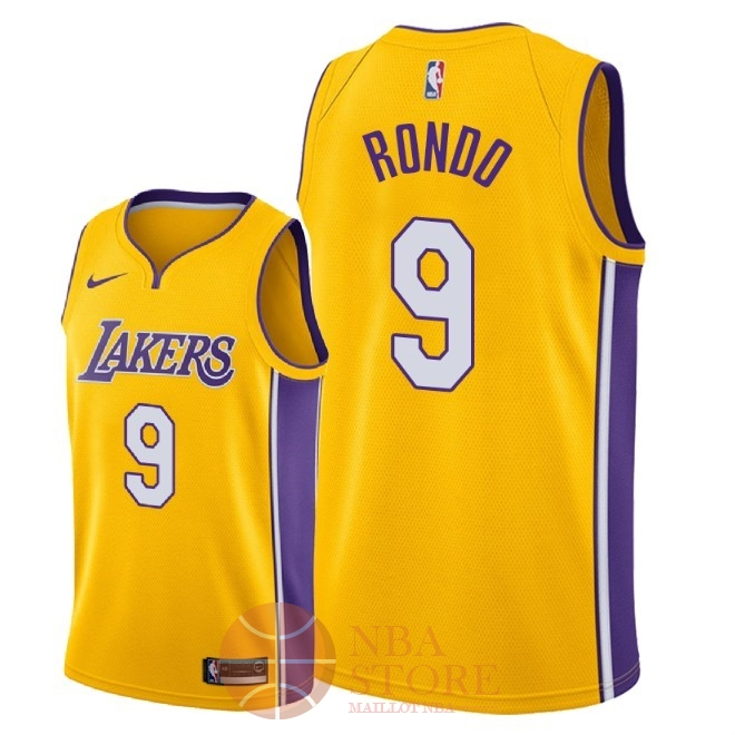 Classic Maillot NBA Nike Los Angeles Lakers NO.9 Rajon Rondo Jaune Icon 2018