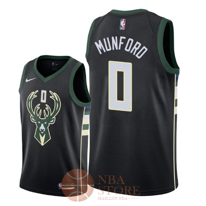 Classic Maillot NBA Nike Milwaukee Bucks NO.0 Xavier Munford Noir Statement 2018