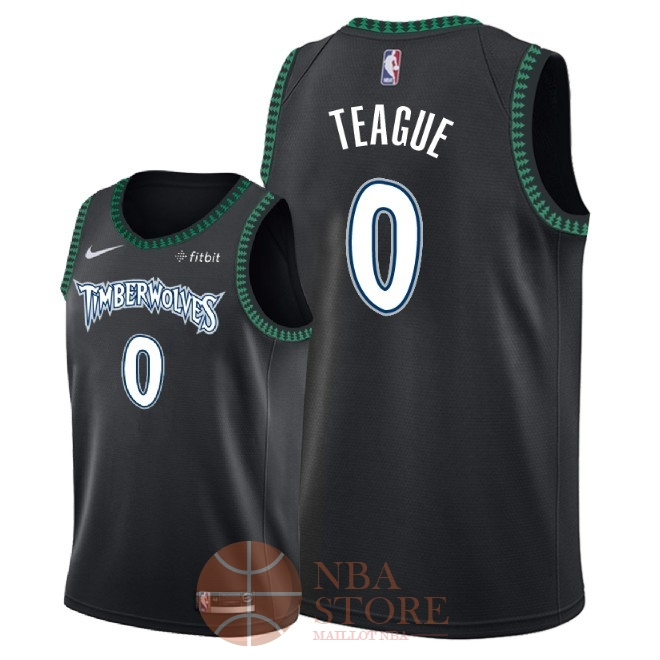 Classic Maillot NBA Nike Minnesota Timberwolves NO.0 Jeff Teague Retro Noir 2018