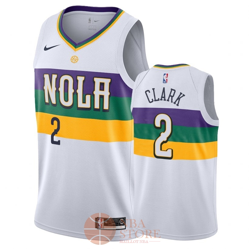 Classic Maillot NBA Nike New Orleans Pelicans NO.2 Ian Clark Nike Blanc Ville 2018-19
