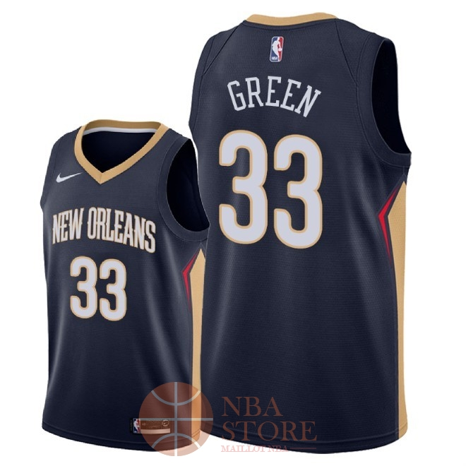 Classic Maillot NBA Nike New Orleans Pelicans NO.33 Garlon Green Marine Icon 2018