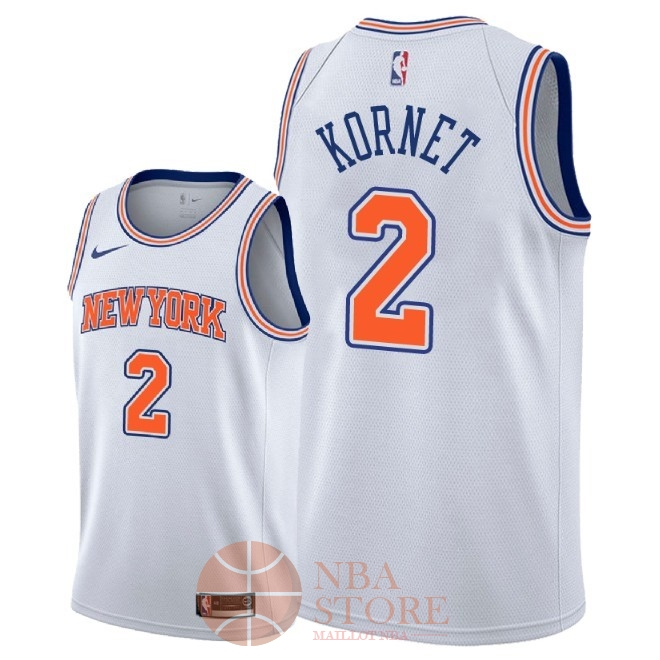 Classic Maillot NBA Nike New York Knicks NO.2 Luke Kornet Blanc Statement 2018