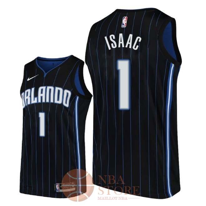 Classic Maillot NBA Nike Orlando Magic NO.1 Jonathan Isaac Noir Statement 2018