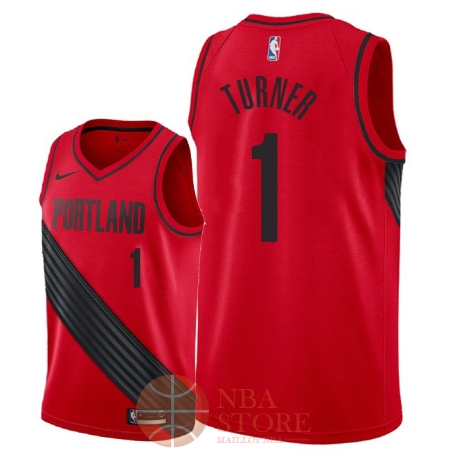Classic Maillot NBA Nike Portland Trail Blazers NO.1 Evan Turner Rouge Statement 2018