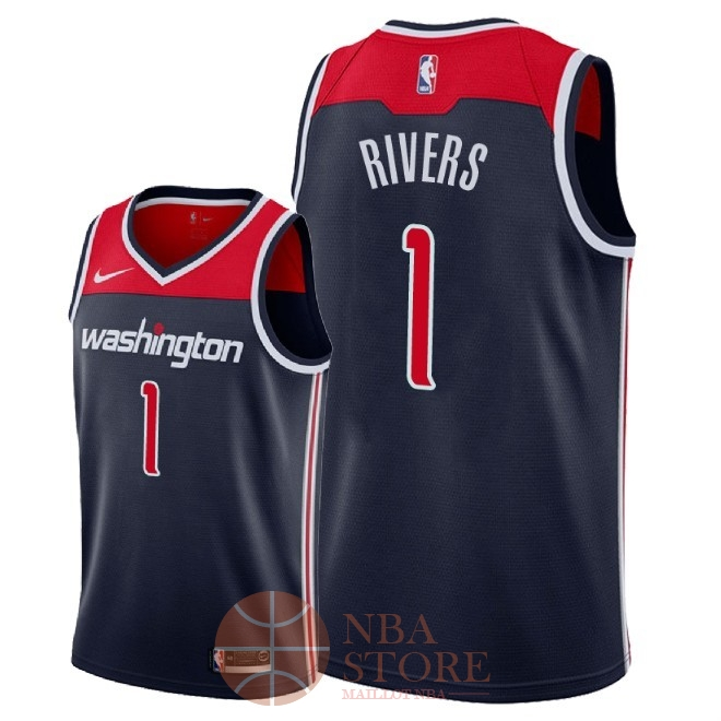 Classic Maillot NBA Nike Washington Wizards NO.1 Austin Rivers Marine Statement 2018