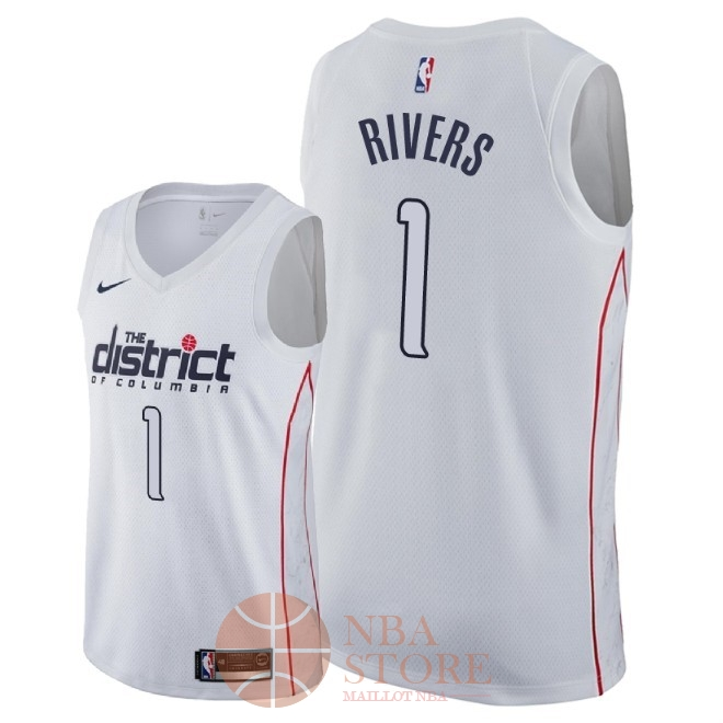 Classic Maillot NBA Nike Washington Wizards NO.1 Austin Rivers Nike Blanc Ville 2018