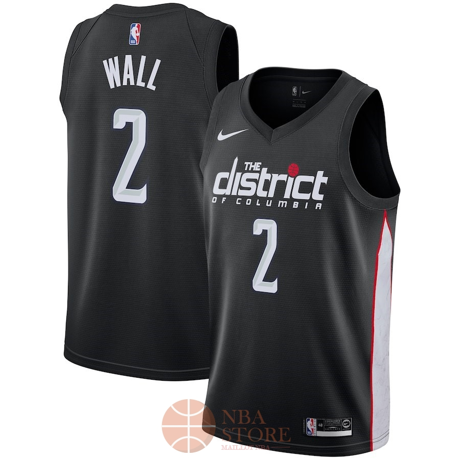 Classic Maillot NBA Nike Washington Wizards NO.2 John Wall Nike Noir Ville 2018-19