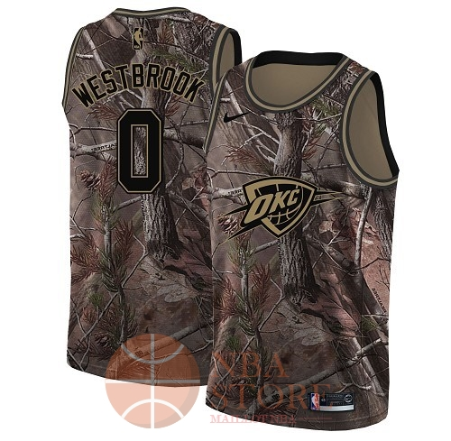 Classic Maillot NBA Oklahoma City Thunder NO.0 Russell Westbrook Camo Swingman Collection Realtree 2018