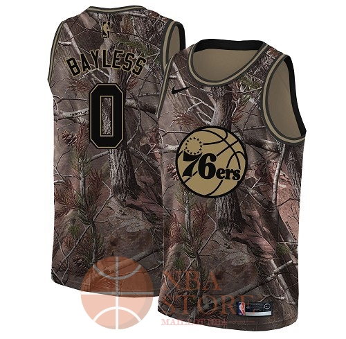 Classic Maillot NBA Philadelphia Sixers NO.0 Jerryd Bayless Camo Swingman Collection Realtree 2018