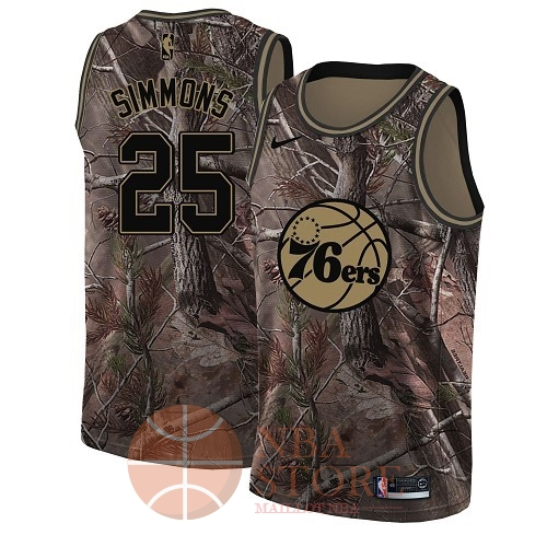 Classic Maillot NBA Philadelphia Sixers NO.25 Ben Simmons Camo Swingman Collection Realtree 2018