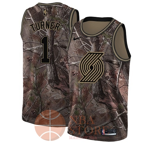 Classic Maillot NBA Portland Trail Blazers NO.1 Evan Turner Camo Swingman Collection Realtree 2018