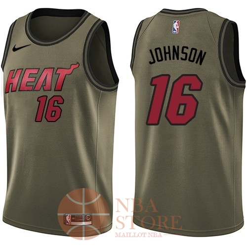 Classic Maillot NBA Service De Salut Miami Heat NO.16 James Johnson Nike Armée verte 2018