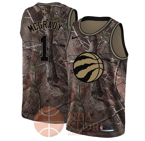 Classic Maillot NBA Toronto Raptors NO.1 Tracy Mcgrady Camo Swingman Collection Realtree 2018