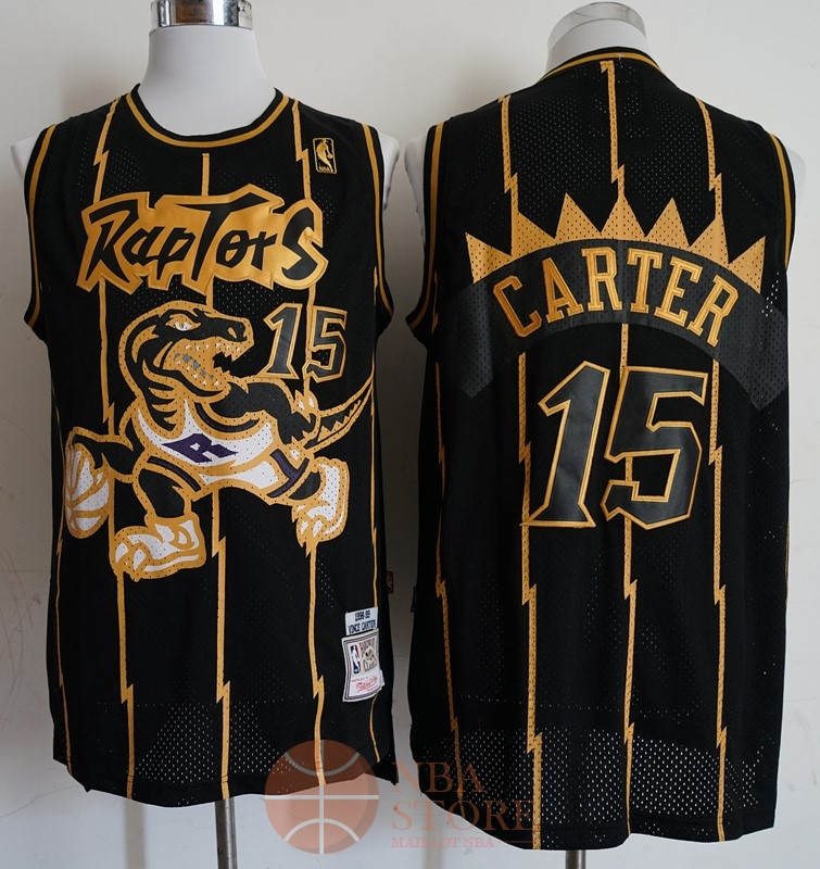 Classic Maillot NBA Toronto Raptors NO.15 Vince Carter Retro Or Noir 1998-99