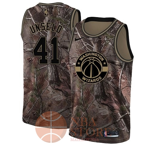 Classic Maillot NBA Washington Wizards NO.41 Wes Unseld Camo Swingman Collection Realtree 2018