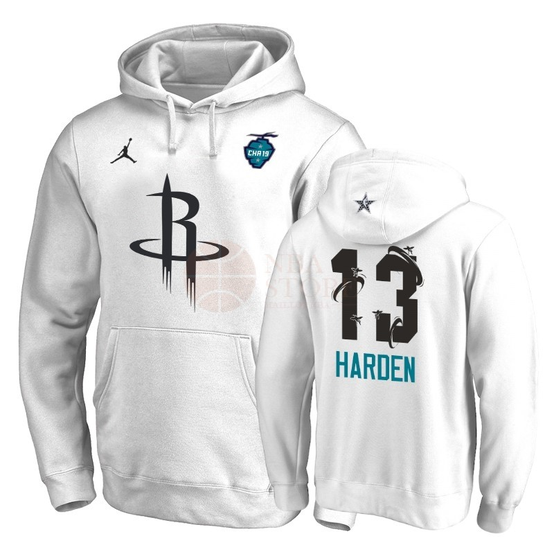 Classic Hoodies NBA 2019 All Star Houston Rockets NO.13 James Harden Blanc