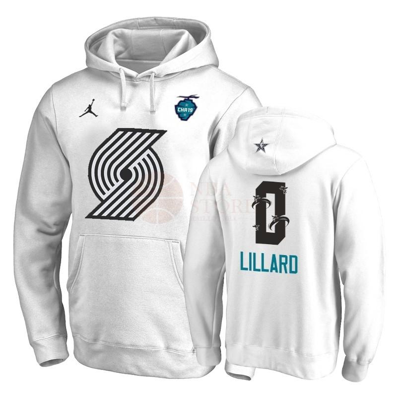 20fe312b78985 Classic Hoodies NBA 2019 All Star Portland Trail Blazers NO.0 Damian Lillard  Blanc