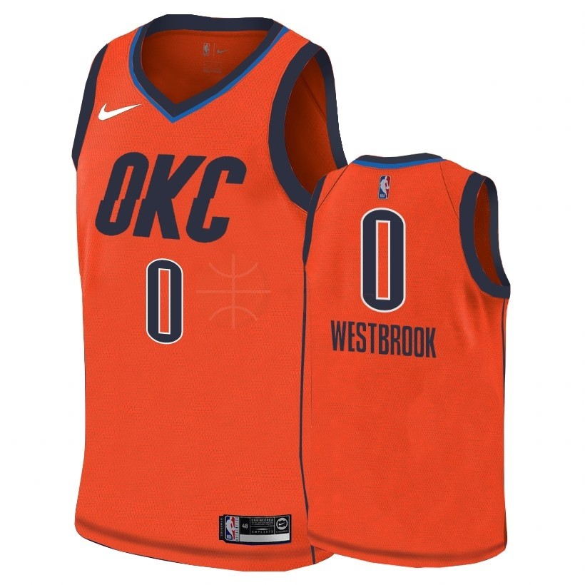 Classic Maillot Earned Edition Oklahoma City Thunder NO.0 Russell Westbrook Orange 2018-19