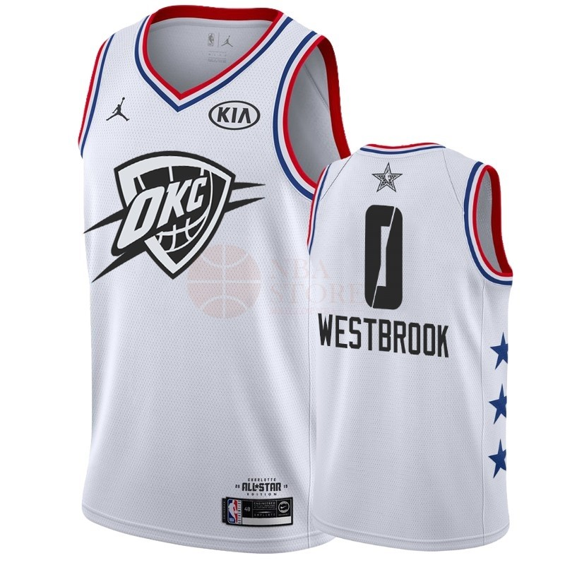 Classic Maillot NBA 2019 All Star NO.0 Russell Westbrook Blanc