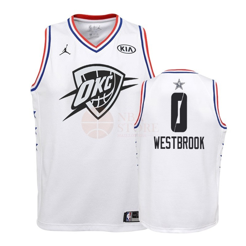 Classic Maillot NBA Enfant 2019 All Star NO.0 Russell Westbrook Blanc
