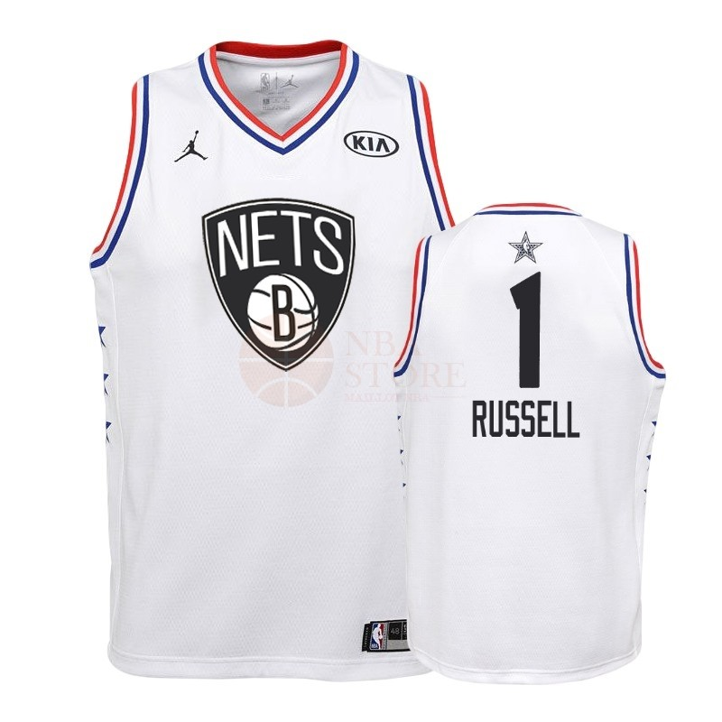 Classic Maillot NBA Enfant 2019 All Star NO.1 DAngelo Russell Blanc