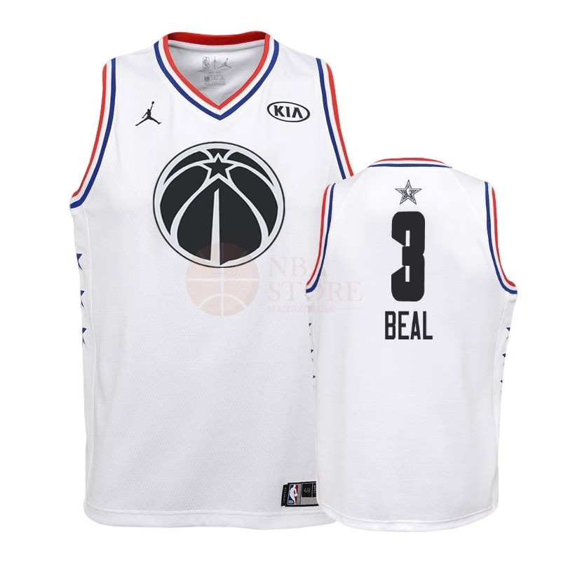 Classic Maillot NBA Enfant 2019 All Star NO.3 Bradley Beal Blanc