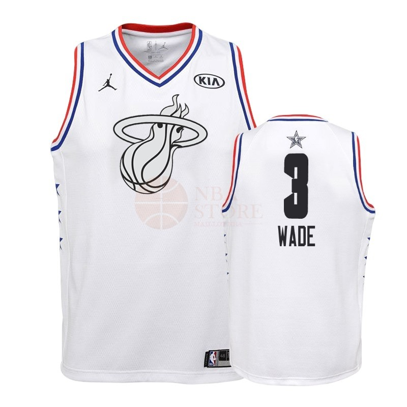 Classic Maillot NBA Enfant 2019 All Star NO.3 Dwyane Wade Blanc