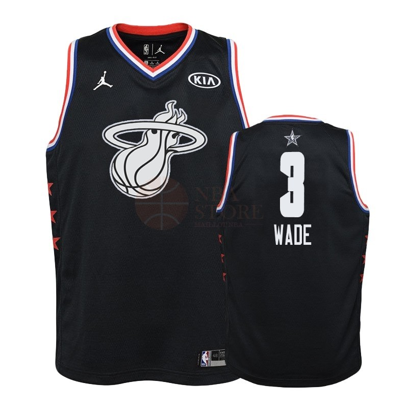 Classic Maillot NBA Enfant 2019 All Star NO.3 Dwyane Wade Noir