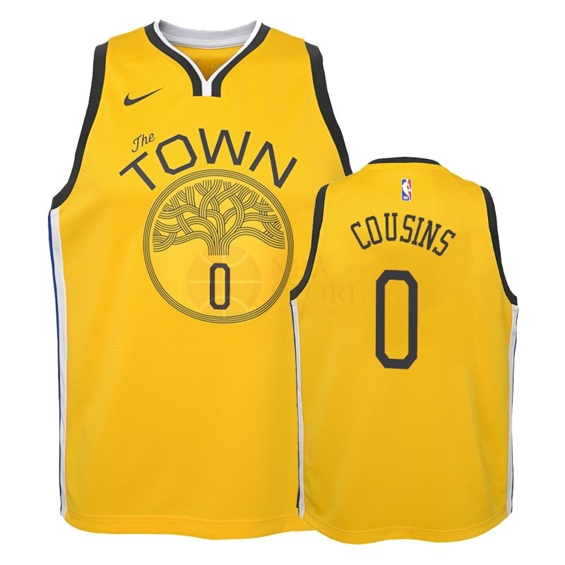 Classic Maillot NBA Enfant Earned Edition Golden State Warriors NO.0 DeMarcus Cousins Jaune 2018-19