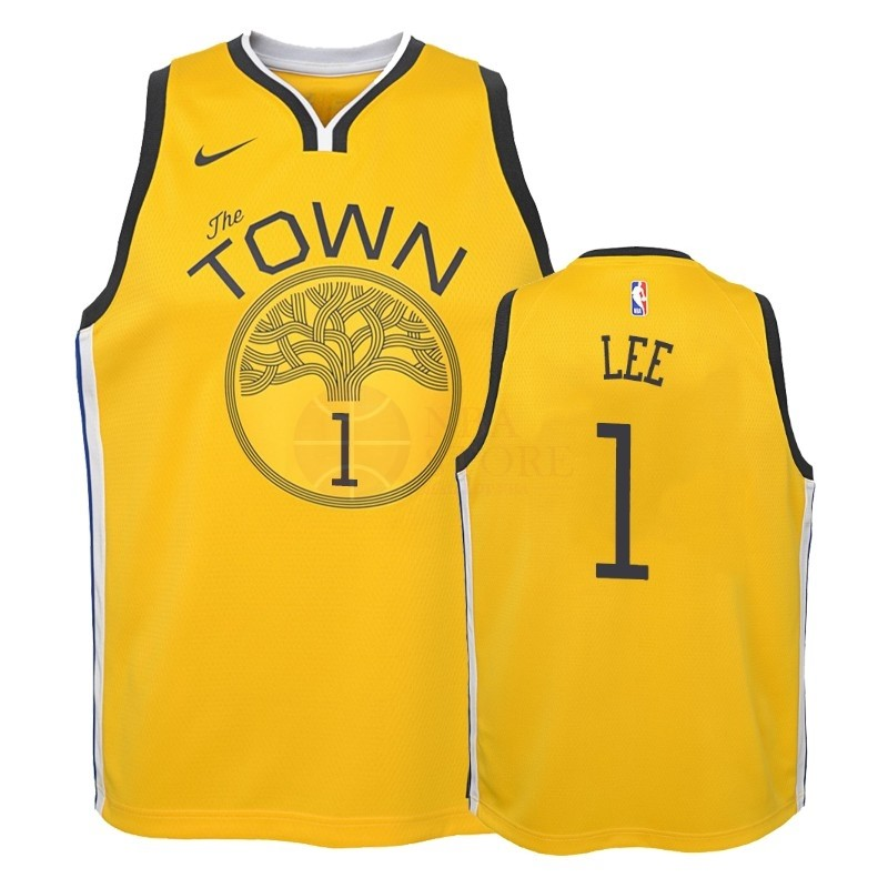 Classic Maillot NBA Enfant Earned Edition Golden State Warriors NO.1 Damion Lee Jaune 2018-19