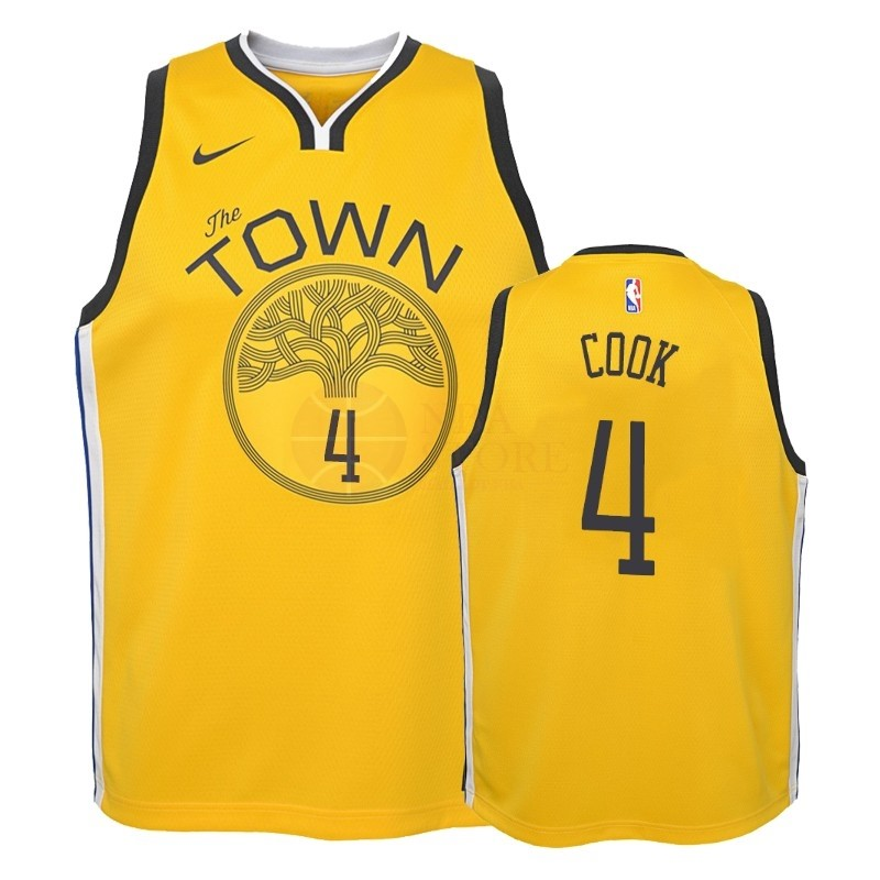 Classic Maillot NBA Enfant Earned Edition Golden State Warriors NO.4 Quinn Cook Jaune 2018-19