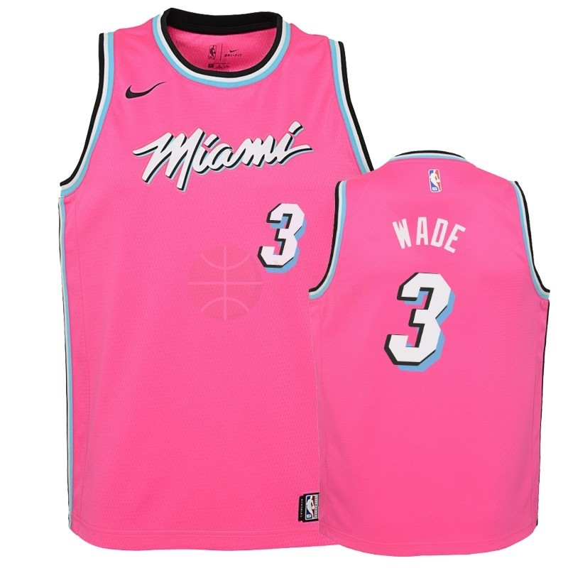 Classic Maillot NBA Enfant Earned Edition Miami Heat NO.3 Dwyane Wade Rose 2018-19