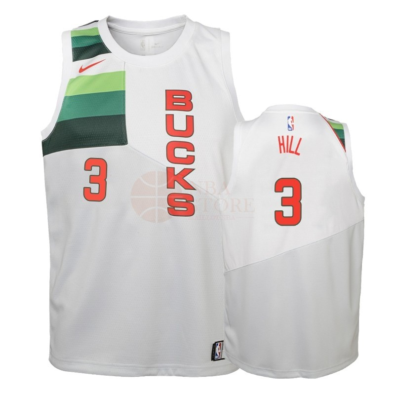 Classic Maillot NBA Enfant Earned Edition Milwaukee Bucks NO.3 George Hill Blanc 2018-19