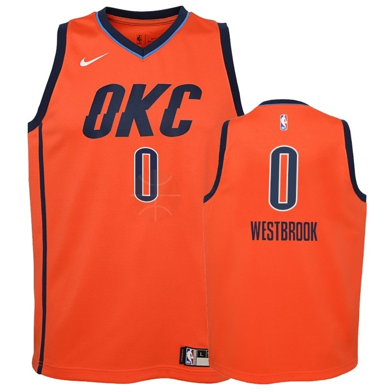 Classic Maillot NBA Enfant Earned Edition Oklahoma City Thunder NO.0 Russell Westbrook Orange 2018-19