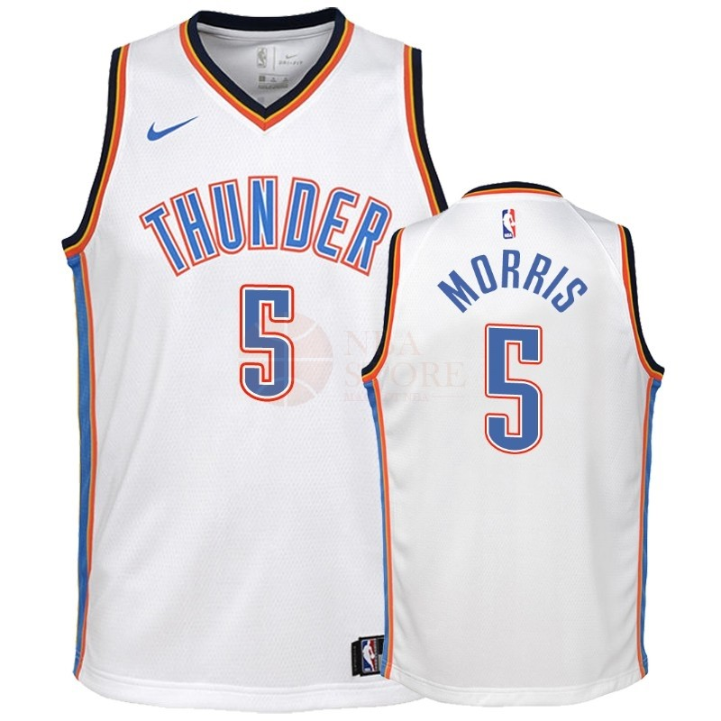 Classic Maillot NBA Enfant Oklahoma City Thunder NO.5 Markieff Morris Blanc Association 2018